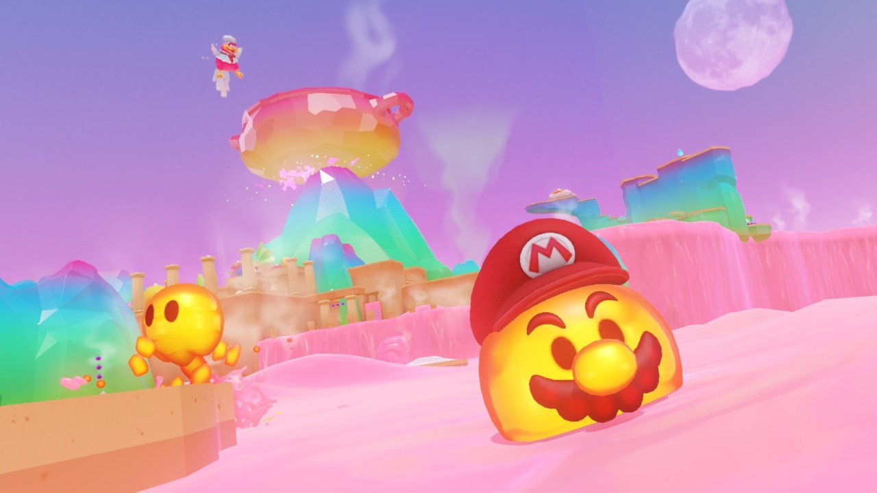 A lava bubble captured by Mario jumps out of candy lava in the colorful luncheon kindom.