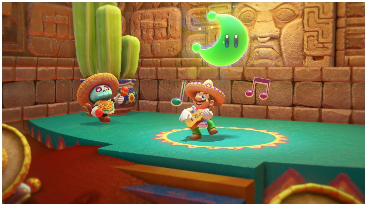 Mario in a sombrero playing a guitar.