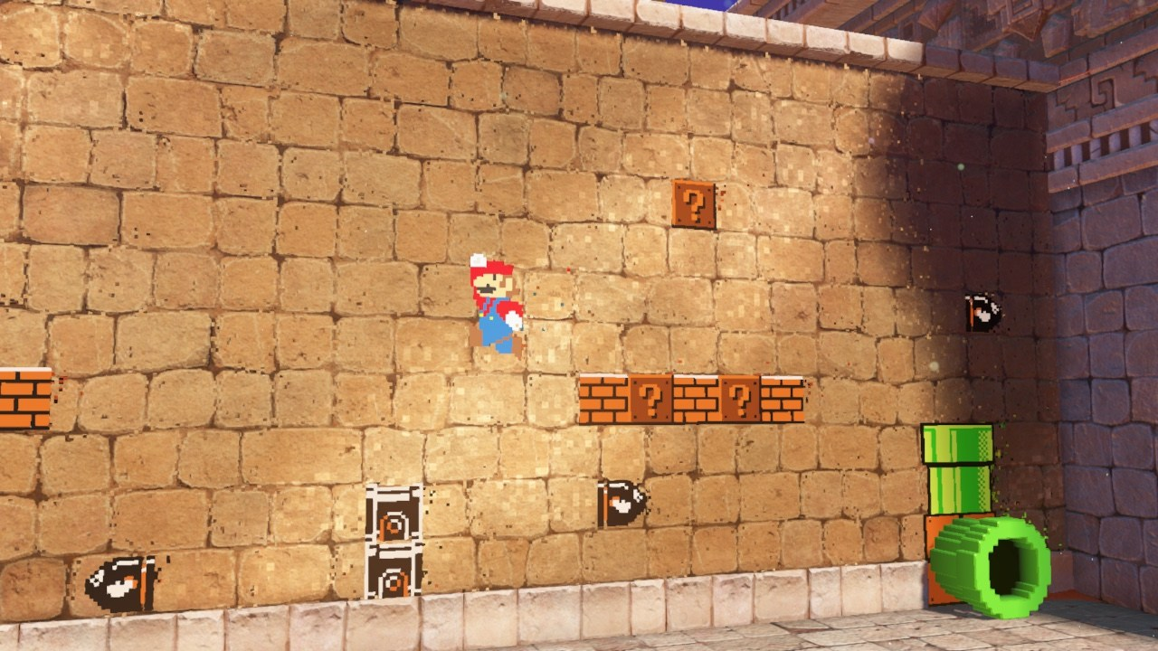Mario running in a two dimentional environment on a brick wall.