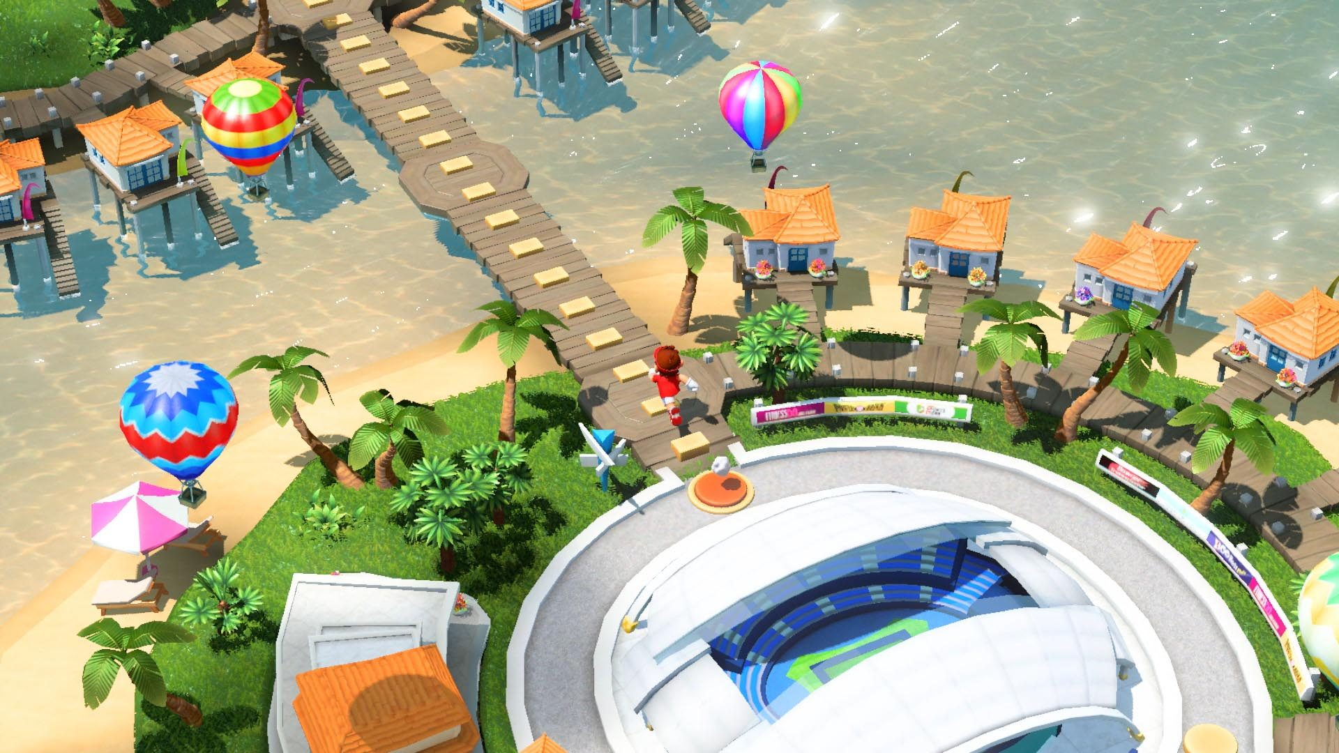 The starting area of the adventure mode is a big pretty stadium on a marina.