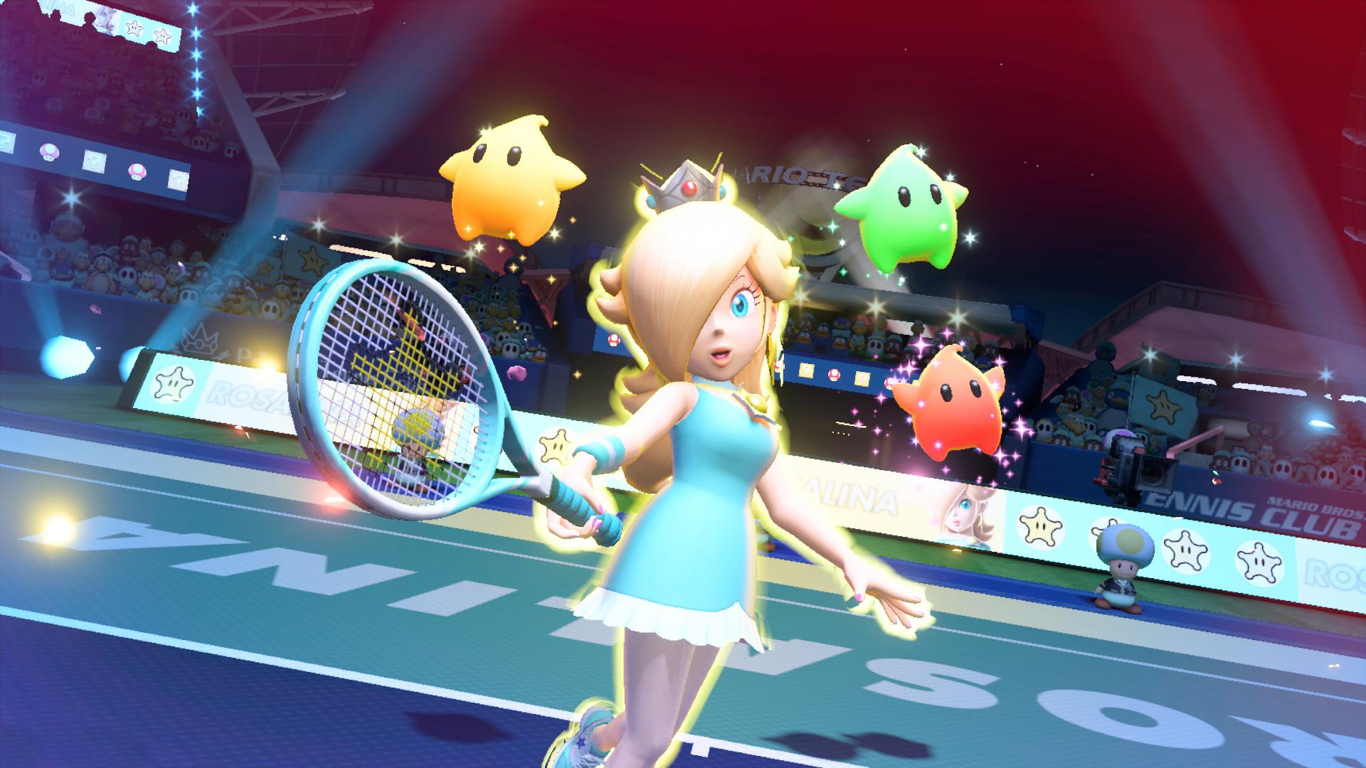 Rosalina with a few lumas around her prepairing for a special shot
