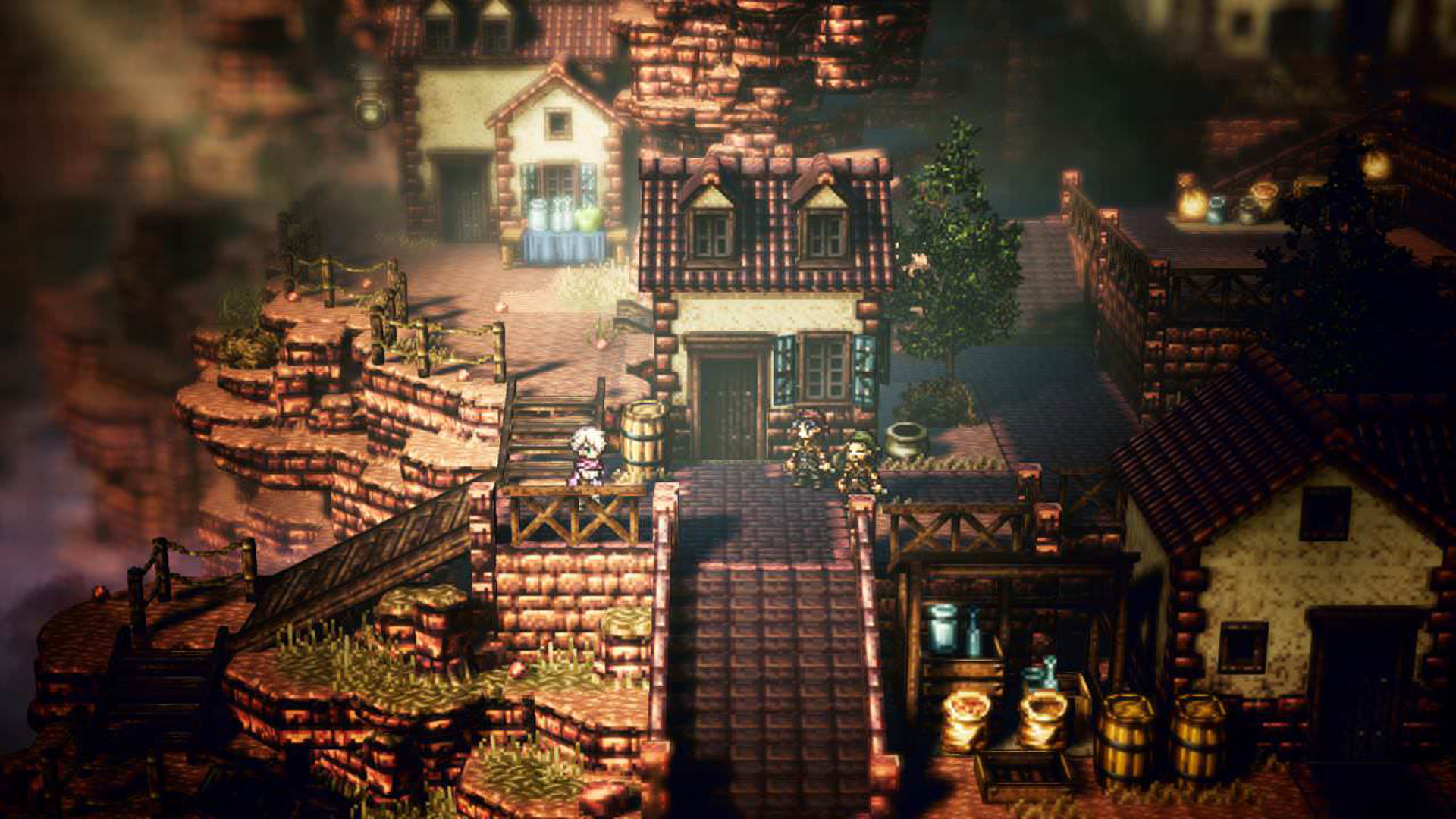 screenshot of a town in octopath traveler.