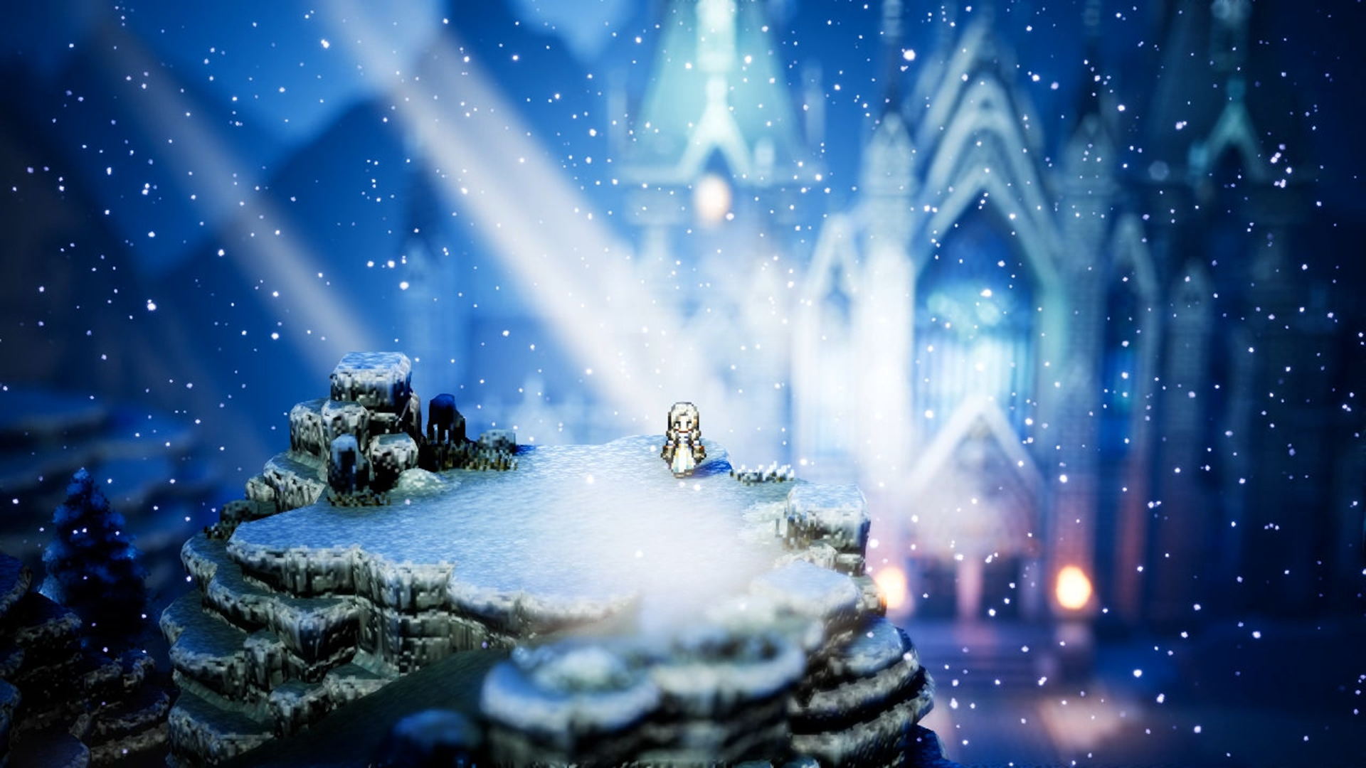 screenshot of a snow town in Octopath traveler.
