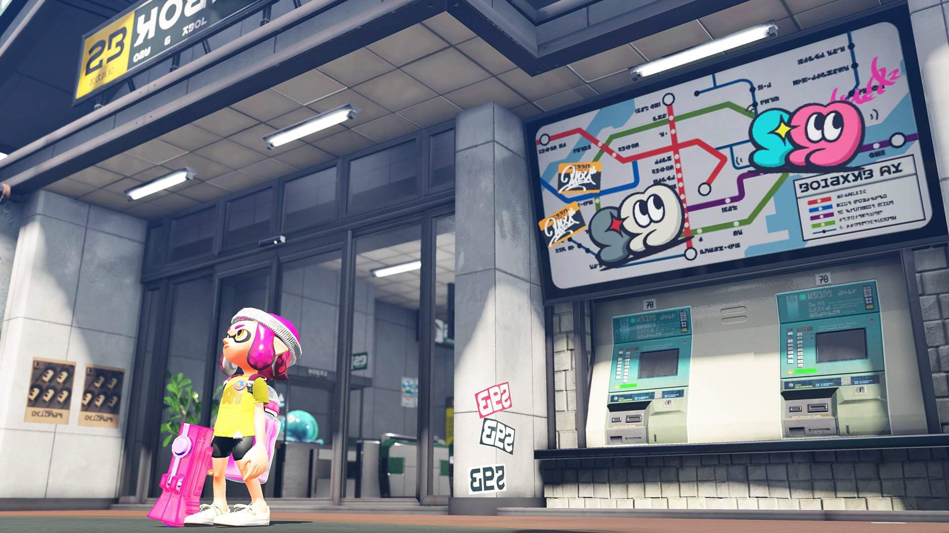 A new inkling steps outside of a city building