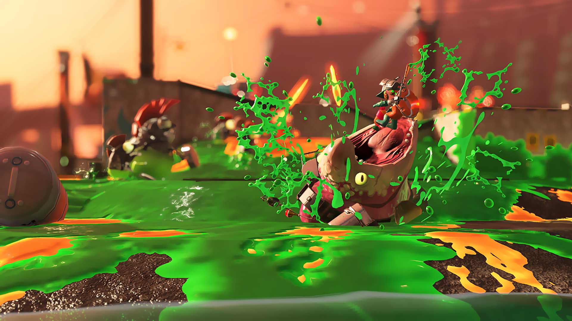Maws lurking in ink to attack a poor inkling.
