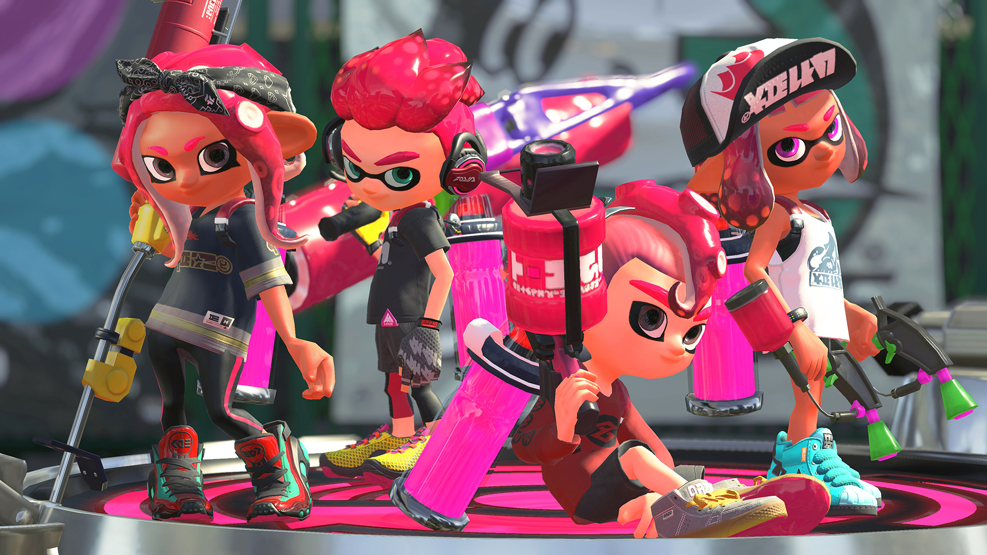 Octolings and Inklings on a battle spawnpoint.