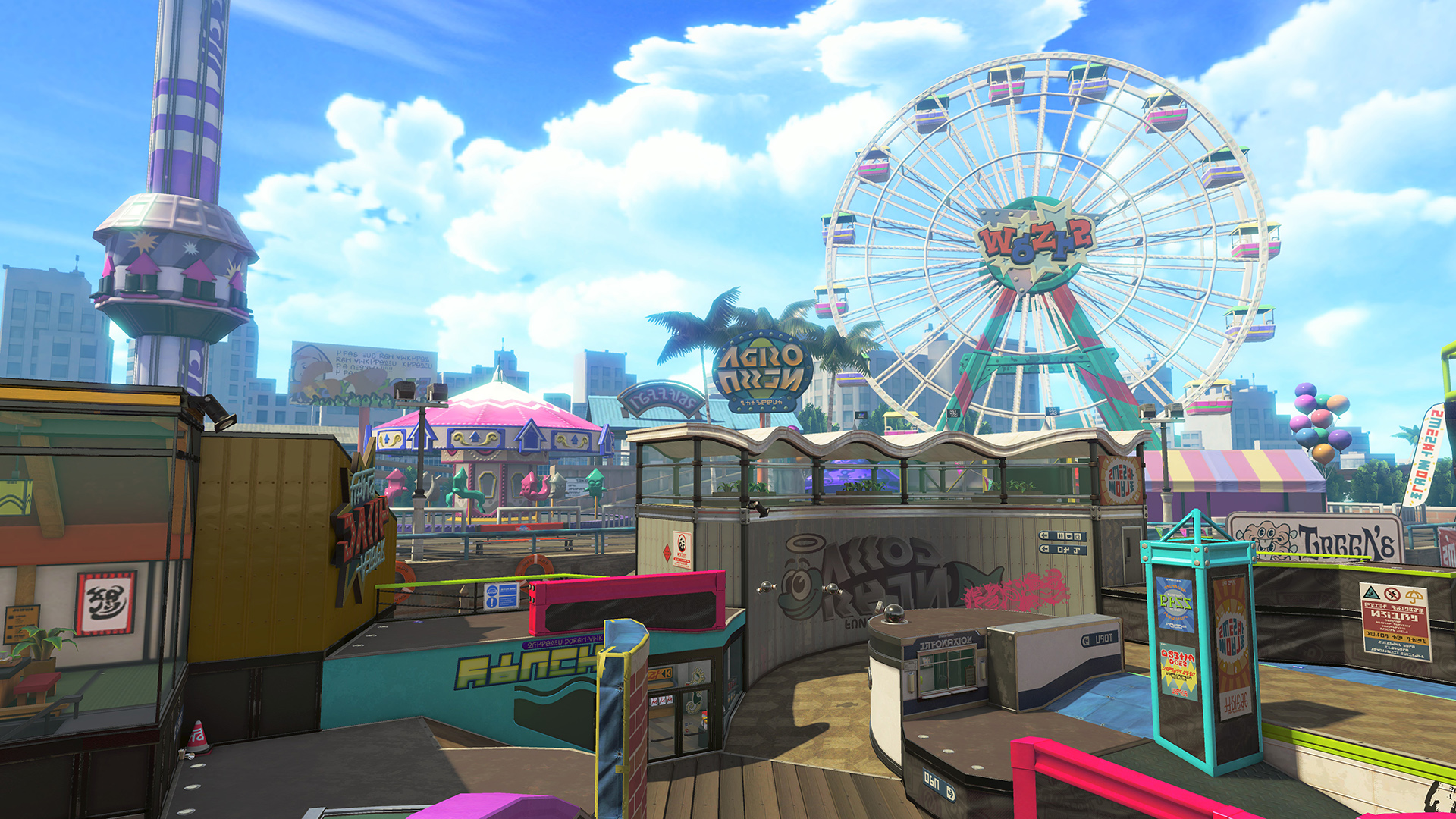 A large theme park map in the game